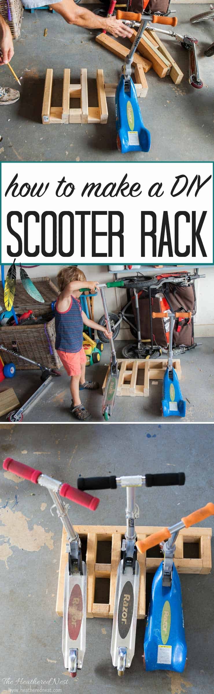 how to build an easy DIY scooter rack to organize the kids ride-on toys!