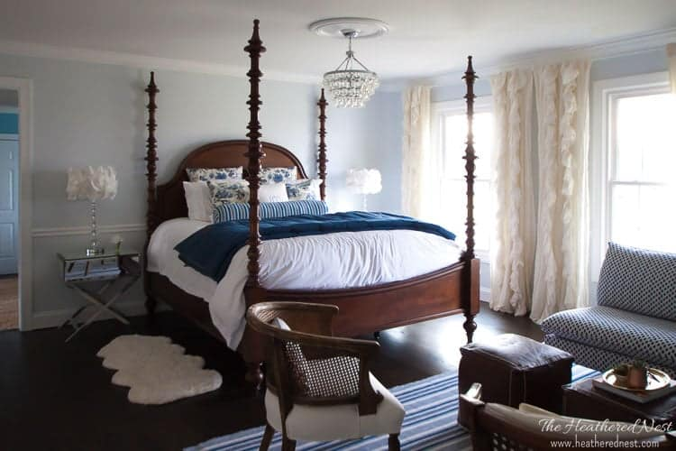 ALL SOURCES linked in this gorgeous Coastal Country Blue Bedroom makeover!!! So pretty and lots of popular DIY features. Love that faux fireplace :) :)