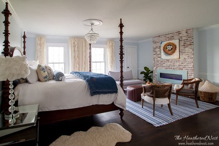 modern coastal country master bedroom makeover with mortar washed fireplace