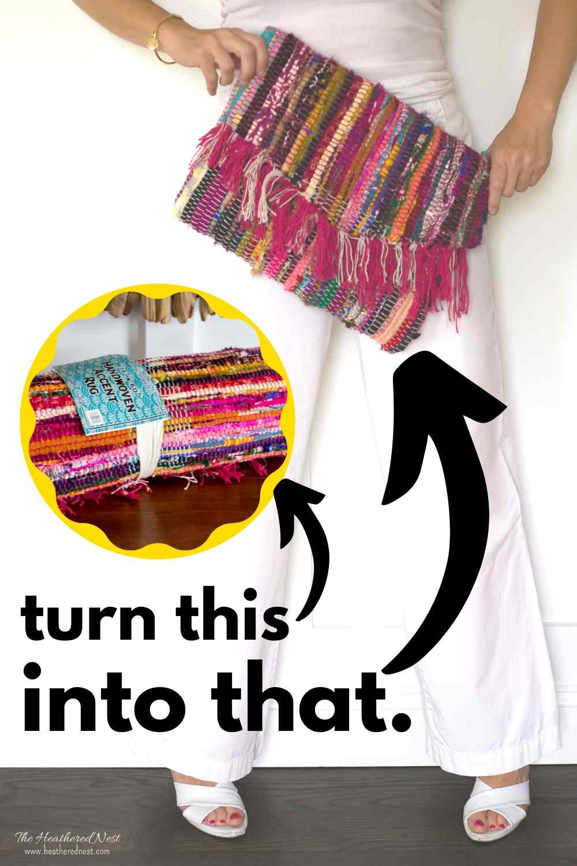 Turn a $5 rug into a stunning clutch!