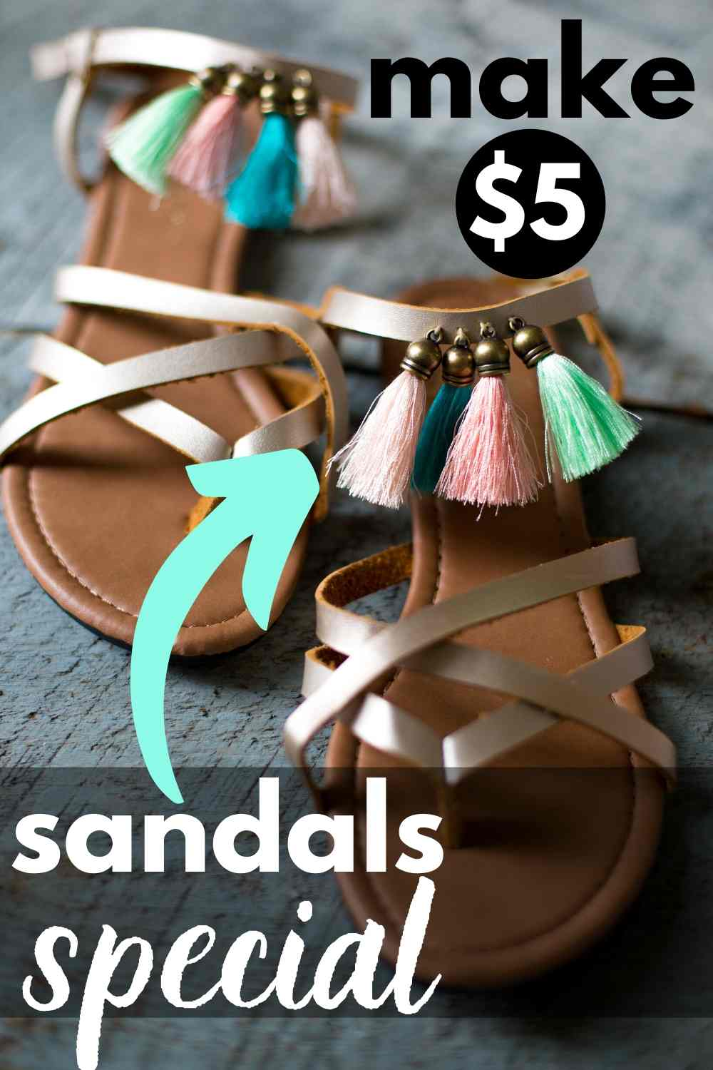 An easy way to make some $5 sandals special! Add some fringe! Here's how it's done.