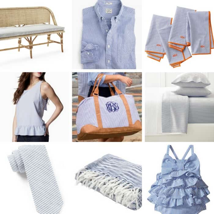 ALL. THE. SEERSUCKER. things! Popular seersucker summer fashion and blue ticking home decor!! LOVE every one of these!