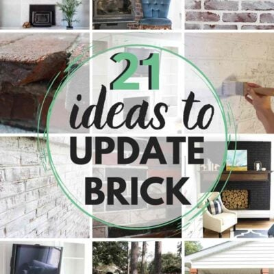 grid with 12 images of brick update ideas. text: 21 ideas to update brick