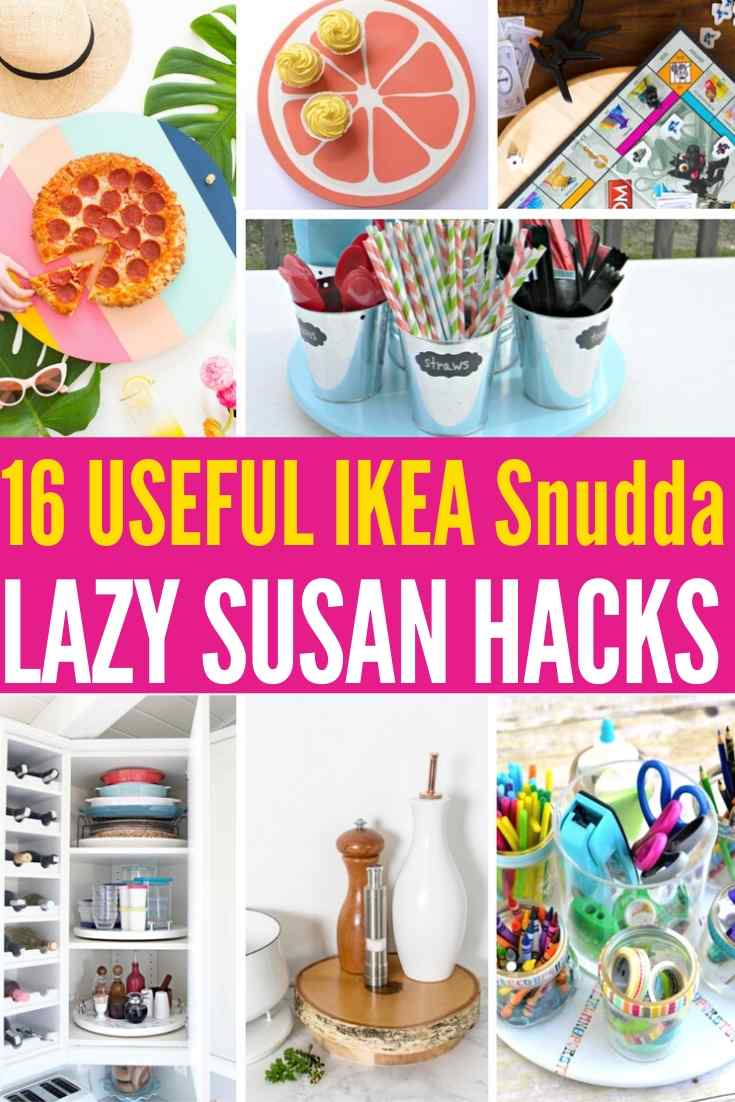 16 USEFUL IKEA Snudda Lazy Susan Hacks | Ikea Snudda Hacks - Who knew there were so many ways to use a lazy susan at home! Great organizing tips, storage ideas, popular DIY decor projects and more!!