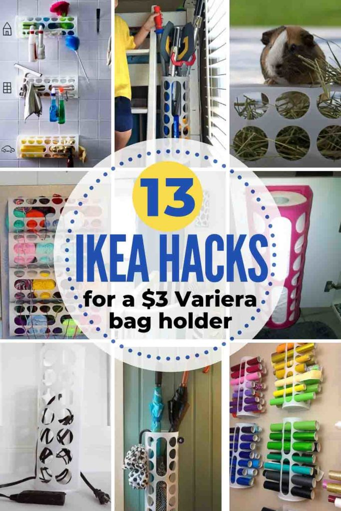WOW! So many practical uses for a plastic bag holder! This Ikea Variera bag dispenser costs $2 but is popular for so many more uses! Great Ikea hacks from around the web and heatherednest.com #Ikea #Ikeahack #ikeahacks #Ikeavariera #ikeaplasticbagholder #ikeavarierahacks #plasticbagholderhacks #whydidntithinkofthat #easyhomehacks #simplehomehacks #affordablehomehacks #organizinghacks #storagehacks #storageideas #cleaninghacks