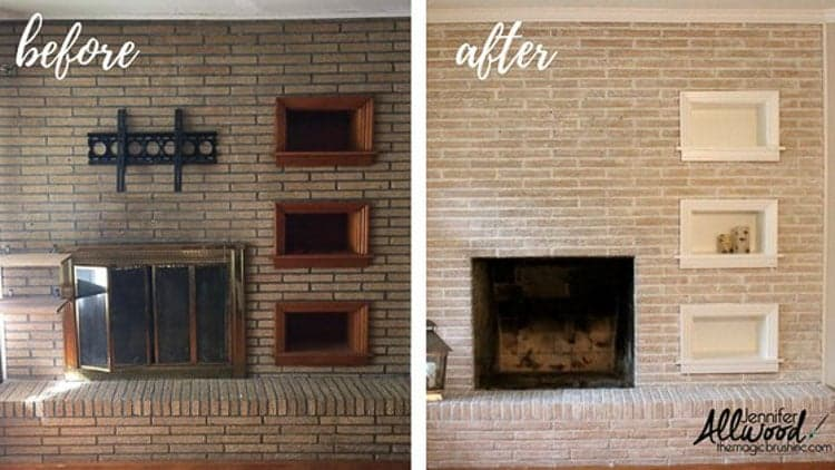before and after of a whitewashed brick fireplace