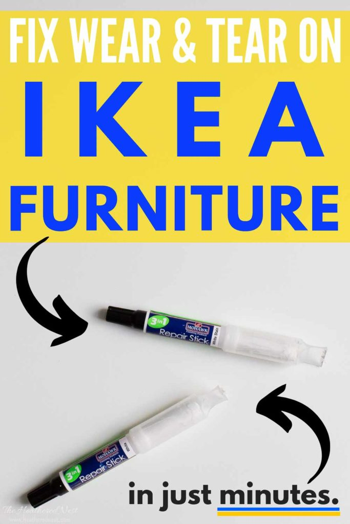 You can repair your Ikea furniture in MINUTES with this 3-in-1 repair stick from Mohawk. Made specifically to match Ikea furniture paint and finishes! It was SUPER EASY to use! #DIY #Ikeahack #furniturerepair #homeimprovement