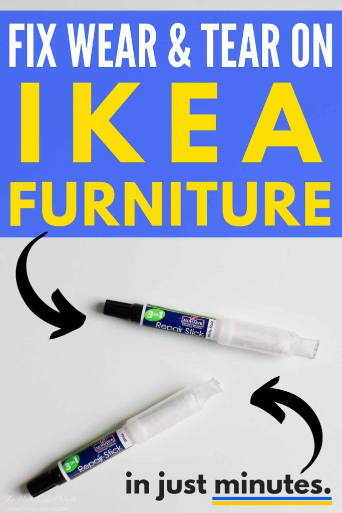 You can repair your Ikea furniture in MINUTES with this 3-in-1 repair stick from Mohawk. Made specifically to match Ikea furniture paint and finishes! It was SUPER EASY to use!