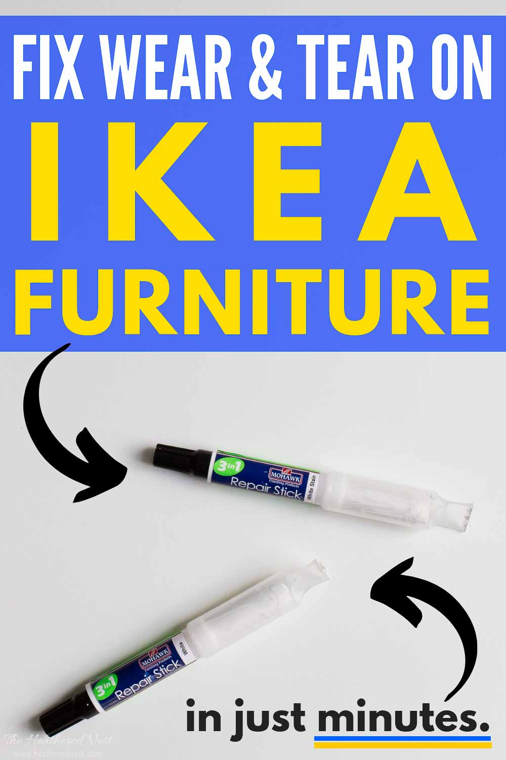 You can repair your Ikea furniture in MINUTES with this 3-in-1 paint touch up repair stick from Mohawk. Made specifically to match Ikea furniture paint and finishes! It was SUPER EASY to use!