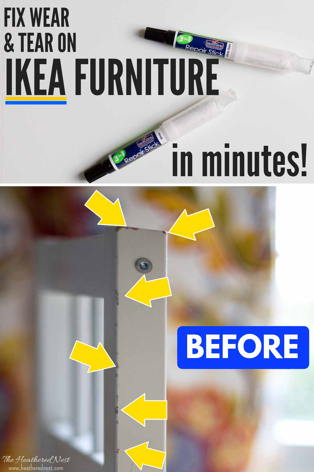 Repair IKEA Furniture Wear & Tear in MINUTES Thanks to this new DIY Repair Stick from Mohawk! This Product is Made Specifically to Match IKEA Furniture Paint and Finishes! It was SUPER EASY to use!