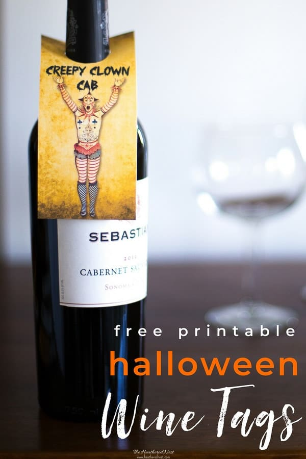 "AWESOME free printables for Halloween! Print these wine gift tags this halloween to ""treat"" some adults this season, too! #halloweenprintables #halloweenideasforadults #adulthalloweenpartyideas #halloweenwinegifttags #printablewinegifttags #halloweenwinebottlegifttags #halloweenfreeprintables"