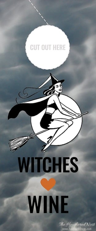 click here to download the gray witches free printable wine labels