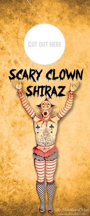 Scary Clown Shiraz Free Printable Wine Gift Tag