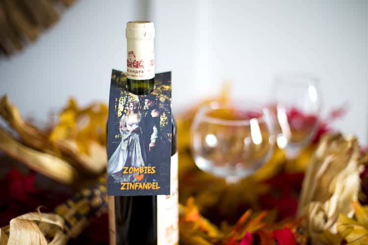 Zombies Love Zinfandel Halloween Wine Gift Tags