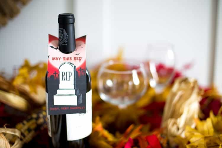 """May this Red R.I.P."" Halloween Wine Tags"