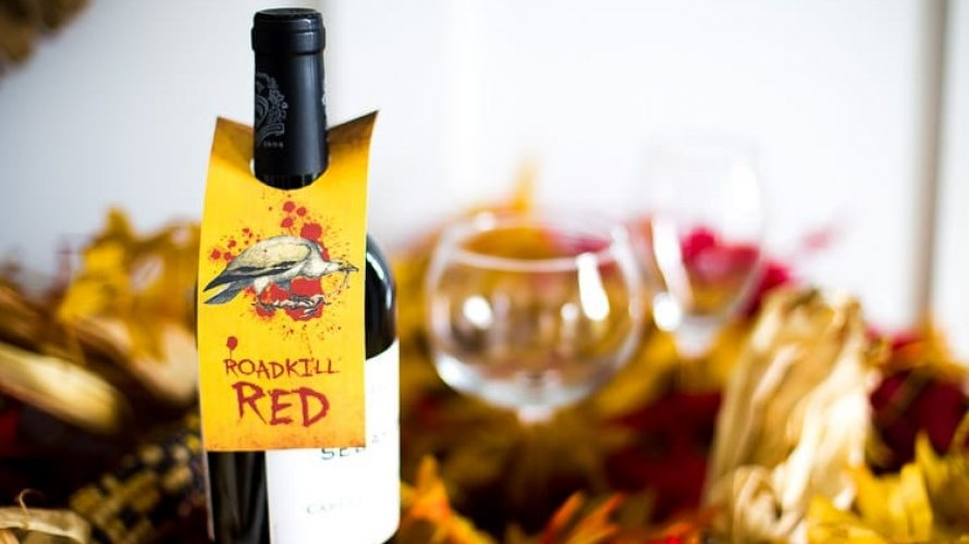 Wine Gift Tags for Halloween! Roadkill Red and Roadkill Reisling