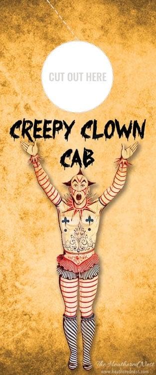 Creepy Clown Cab Free Printable Wine Gift Tag