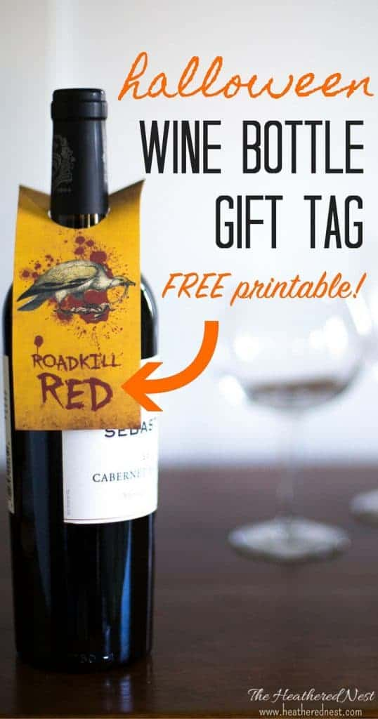 Halloween free printables!! Grab these wine bottle labels | wine bottle tags free printables - LOVE these Halloween printables!! from heatherednest.com