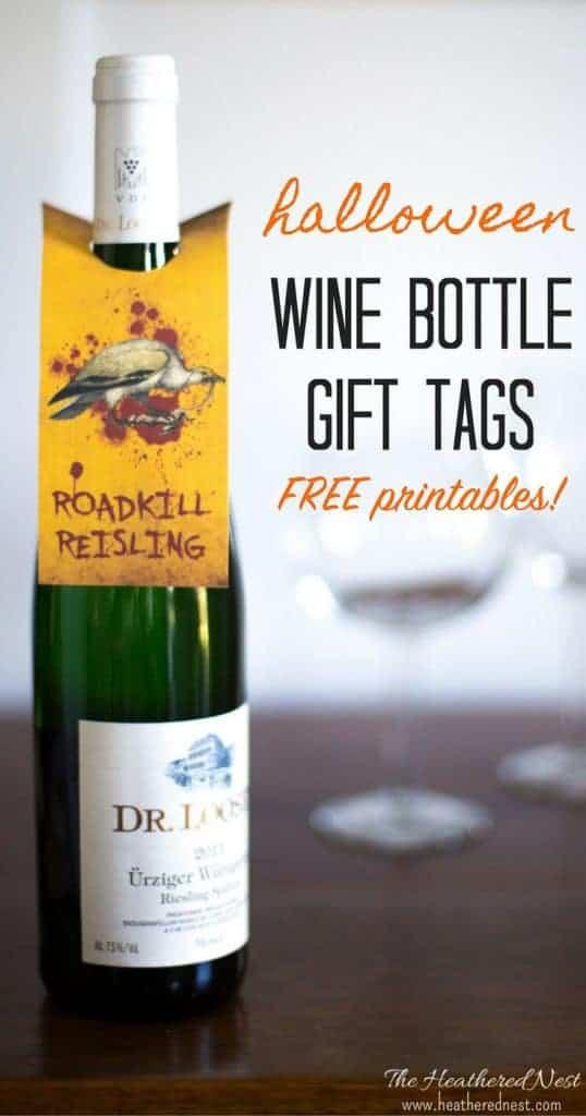 Halloween free printables!! Grab these wine bottle labels   wine bottle tags free printables - LOVE these Halloween printables!! from heatherednest.com
