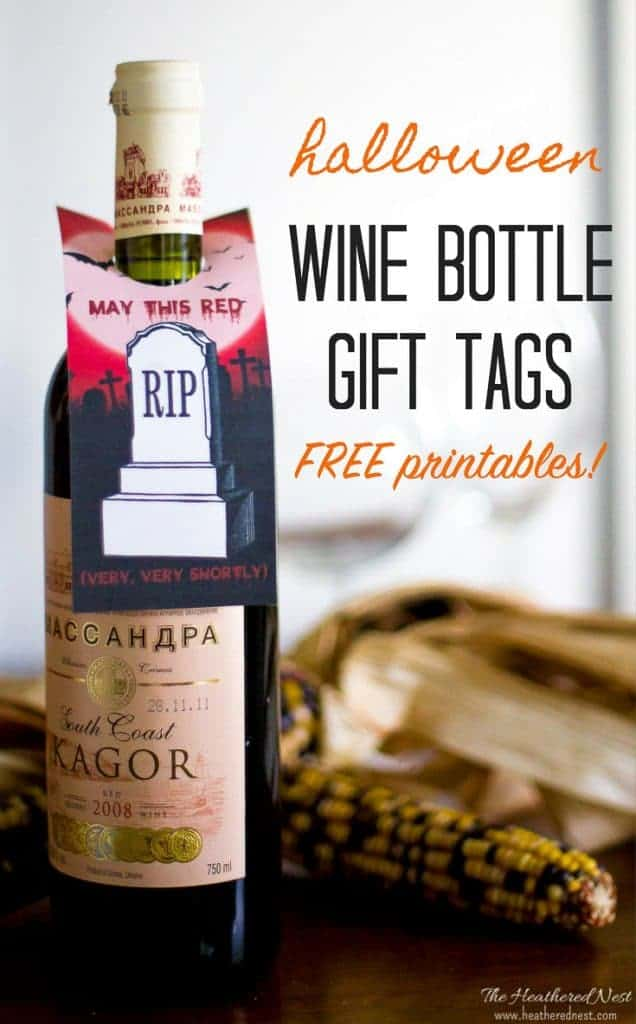Halloween free printable wine tags! May this Red R.I.P. very very shortly! #heatherednest #halloweenprintables #freeprintablewinetags #freehalloweenprintables #winetags #winelabels #adulthalloweenpartyideas #winegifttags #printablewinegifttags #printablewinelabels #winegift