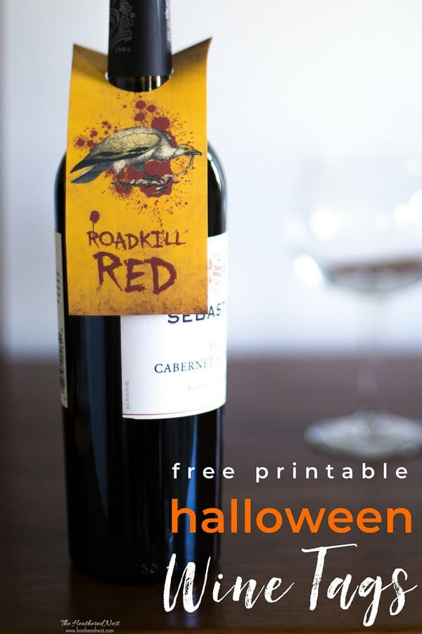 Halloween free printables!! These spooky-fun wine gift tags are perfect for that adult halloween party! #halloweenprintables #winetagfreeprintables #adulthalloweenpartyideas #printablewinetags #DIYprintablewinetags #heatherednest