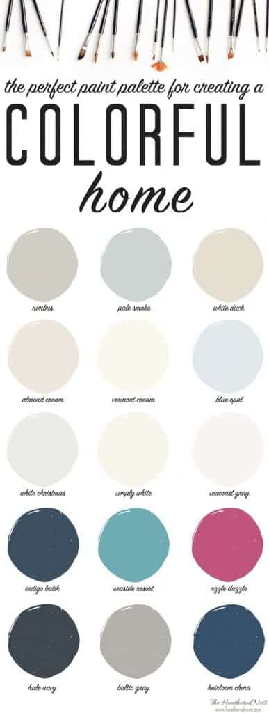 LOVE this colorful paint palette! Great interior paints for creating a vibrant, colorful home. PLUS a FREE PAINT CAN LABEL download!! from heatherednest.com
