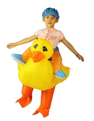 riding a duck inflatable costume
