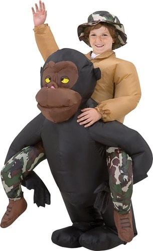 riding an inflatable gorilla costume