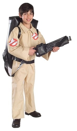 A person wearing a ghostbusters costume