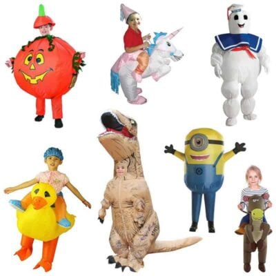 collage of popular inflatable halloween costumes for kids