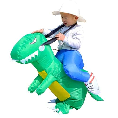 Inflatable riding a dinosaur costume