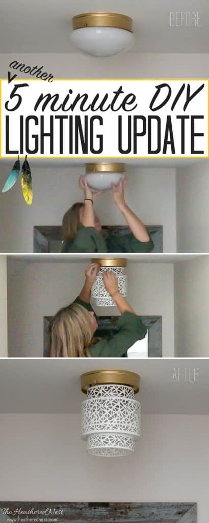 Unbelievable...and what a great idea for renters, too! Try this 5-minute, NO TOOLS needed boob light makeover using a Moroccan lantern from the Heathered Nest! Amazing way to update that dated flush mount ceiling lighting! #DIY #lighting #homehack #booblight #DIYlighting #moroccanlanternshanging #moroccanlighting #ceilinglightDIY #ceilinglightflushmount #ceilinglightcoolideas