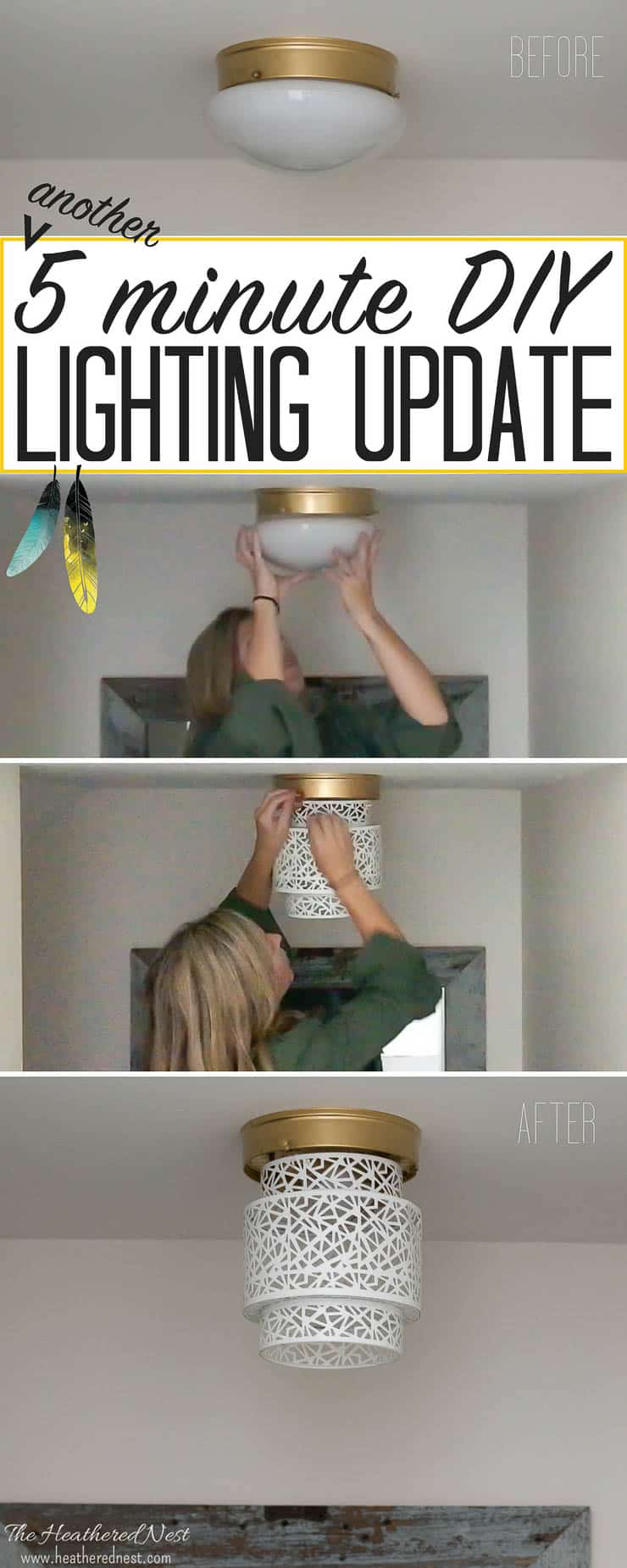 Unbelievable...and what a great idea for renters, too! Try this 5-minute, NO TOOLS needed boob light makeover using a woven basket from the Heathered Nest! Amazing way to update that dated flush mount ceiling lighting! #DIY #lighting #homehack #booblight #DIYlighting