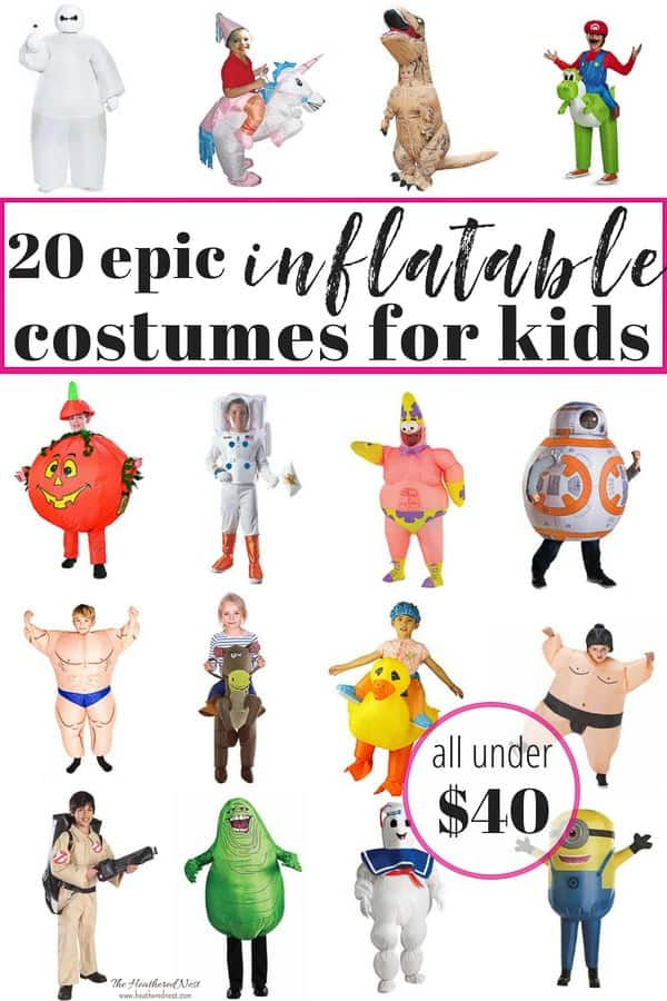 These popular inflatable halloween costumes for kids are EPIC!! And NONE are over $40!! These are the coolest costumes we've seen in a while! #halloween #costumes #kids #inflatablecostumes #inflatablehalloweencostumesforkids