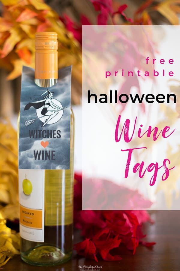 Witches Love Wine Free Printable Wine Tags for Halloween! Treat the adults this fall, not just the kids! #winetags #halloweenprintables #heatherednest #freeprintablewinelabels #freeprintablewinetags #winelabels #halloweenfreeprintables #winegifttags #winegifttagprintables #witcheslovewine
