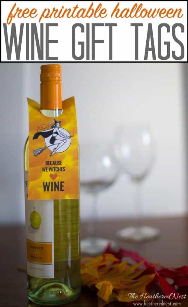 FREE PRINTABLE Halloween wine tags from heatherednest.com. There's an entire series of these on the blog!!