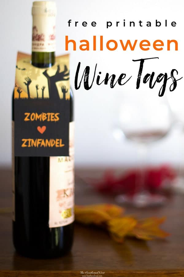 "Spooky fun ""Zombies love Zinfandel"" free printables for halloween ! Print some of these wine gift tags out and treat the adults on Halloween night, too! #wine #halloween #freeprintables #gift #printables #gifttag #zombies #adulthalloweenpartyideas #winegifttags #printablewinegifttags #halloweenideas #halloweenprintables #winegiftideas #halloweenideasforadults #halloweentreatsforadults #printablewinelabels #halloweenfreeprintables"