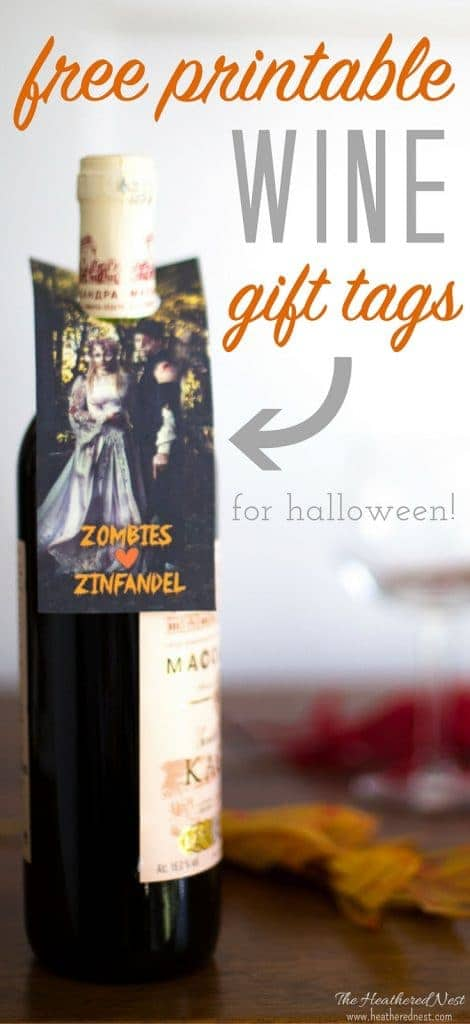 "Spooky fun ""Zombies love Zinfandel"" free printables for halloween ! Print some of these wine gift tags out and treat the adults on Halloween night, too! #wine #halloween #freeprintables #gift #printables #gifttag #zombies"