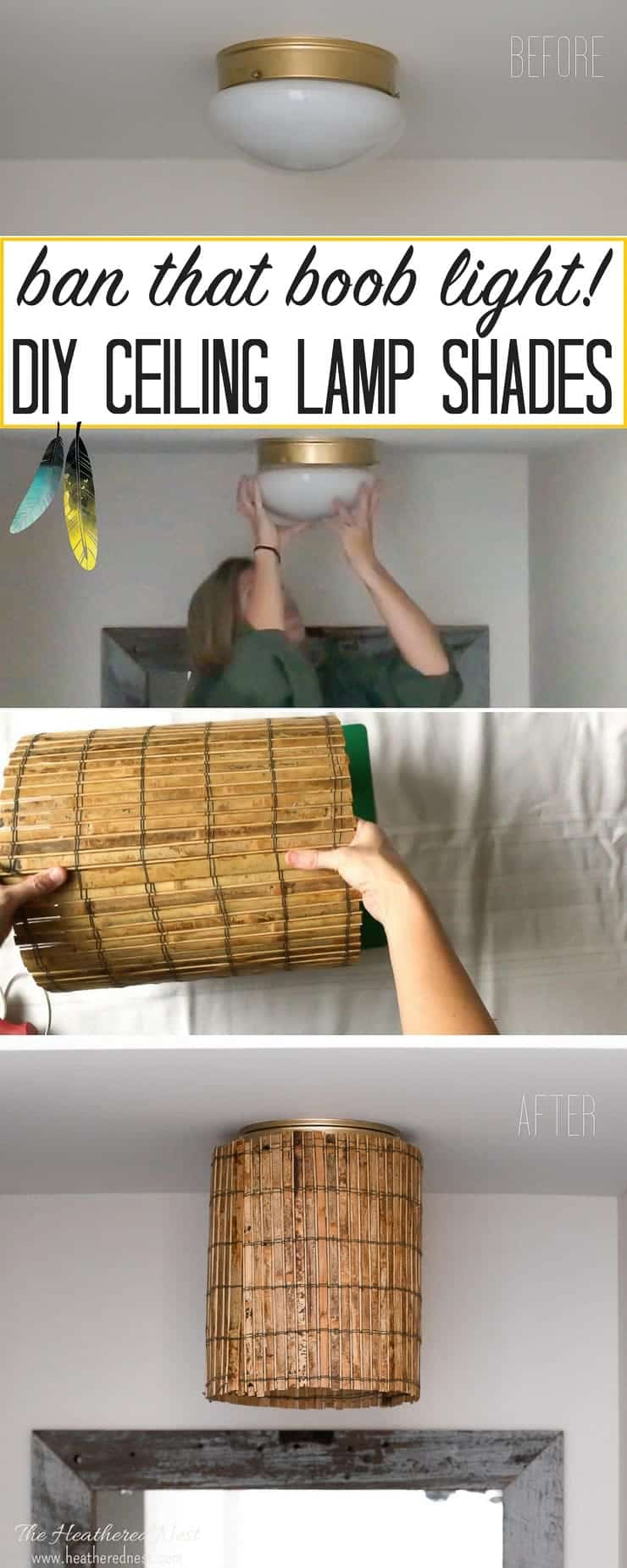 Easy DIY ceiling lamp shades to hide a boob light | The ...