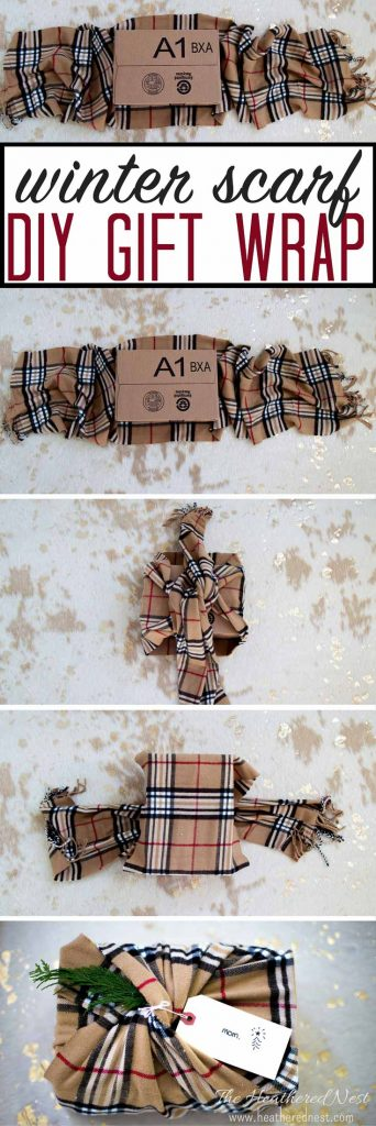 AWESOME Christmas wrapping idea! Not only is it gorgeous, it's eco-friendly | super green! I love unique gift wrapping ideas for Christmas...and this one using a winter scarf is EASY, too! Showing step by step process for completing this gift wrap technique