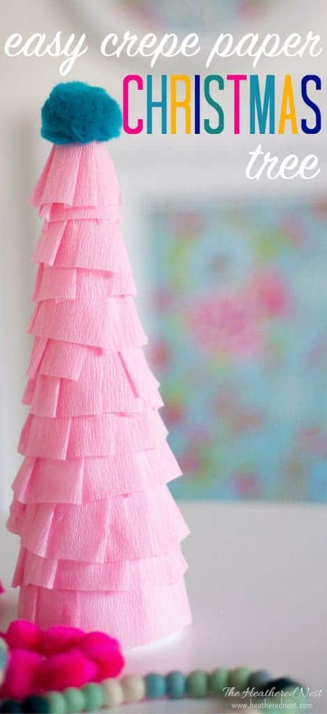 ADORABLE! This easy paper Christmas tree craft is inexpensive, and made in less than an hour from crepe paper (streamers). It can add some fun color to any room this holiday season! #paperchristmastreecraft #easychristmastreecraft #crepepapercraft #styrofoamchristmastreecraft