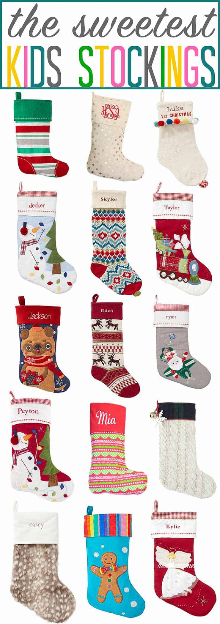 So many sweet kids stockings, so little mantel space! ? If you're in the market for a sweet Christmas stocking or 2, this is GREAT! #christmasstockings #christmas #christmasstocking #stockingsforkids #kidsstockings