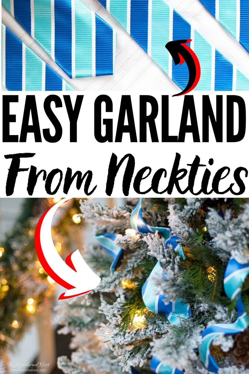 Non-Traditional, and beautiful garland idea for your Christmas tree this year...neckties