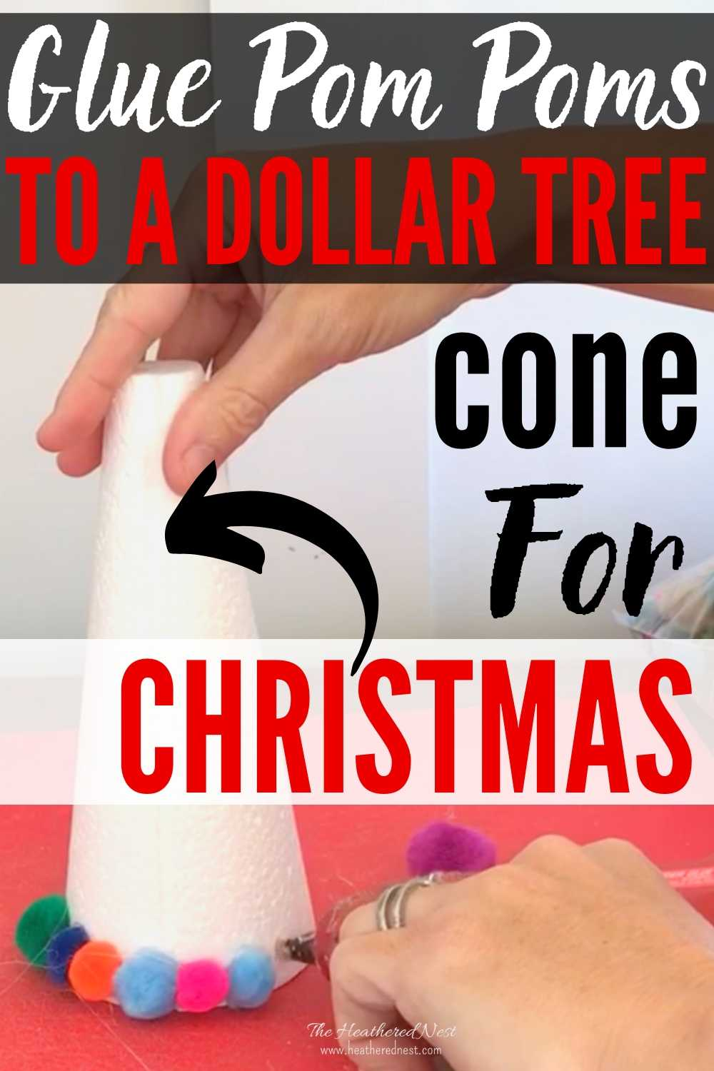 Here's an easy Christmas Tree Craft Idea using items you can grab at the Dollar Store or Dollar Tree. You'll need a styrofoam cone, pom poms and hot glue to start.