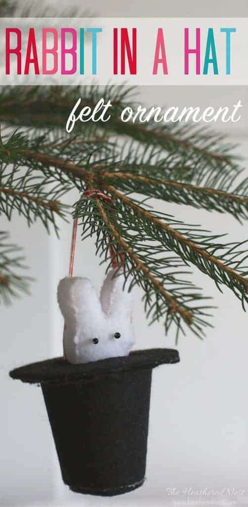 MAGIC! Watch them pull this sweet little removable felt bunny in and out of his hat! A darling DIY felt ornament to add to your Christmas tree! #DIYornament #rabbit #animalornament #feltornament #rabbitinahat #magic #christmasornament #bunnyornament #easychristmastreeornament