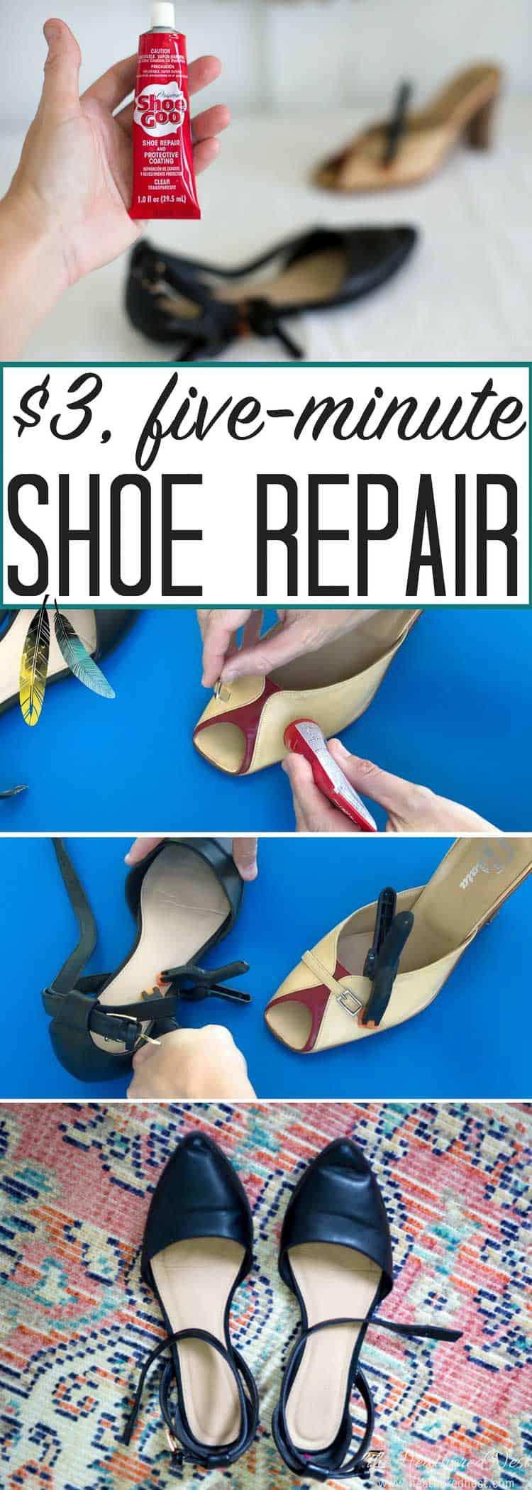 Don't throw out those favorite shoes! Repair them in minutes with this simple DIY project and a $3 tube of shoe glue! Will it do a good job? Here's a review! #shoe #DIY #shoeglue #shoerepair #shoes