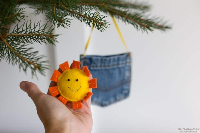 Sunshine in my Pocket Felt and Denim Holiday Ornament