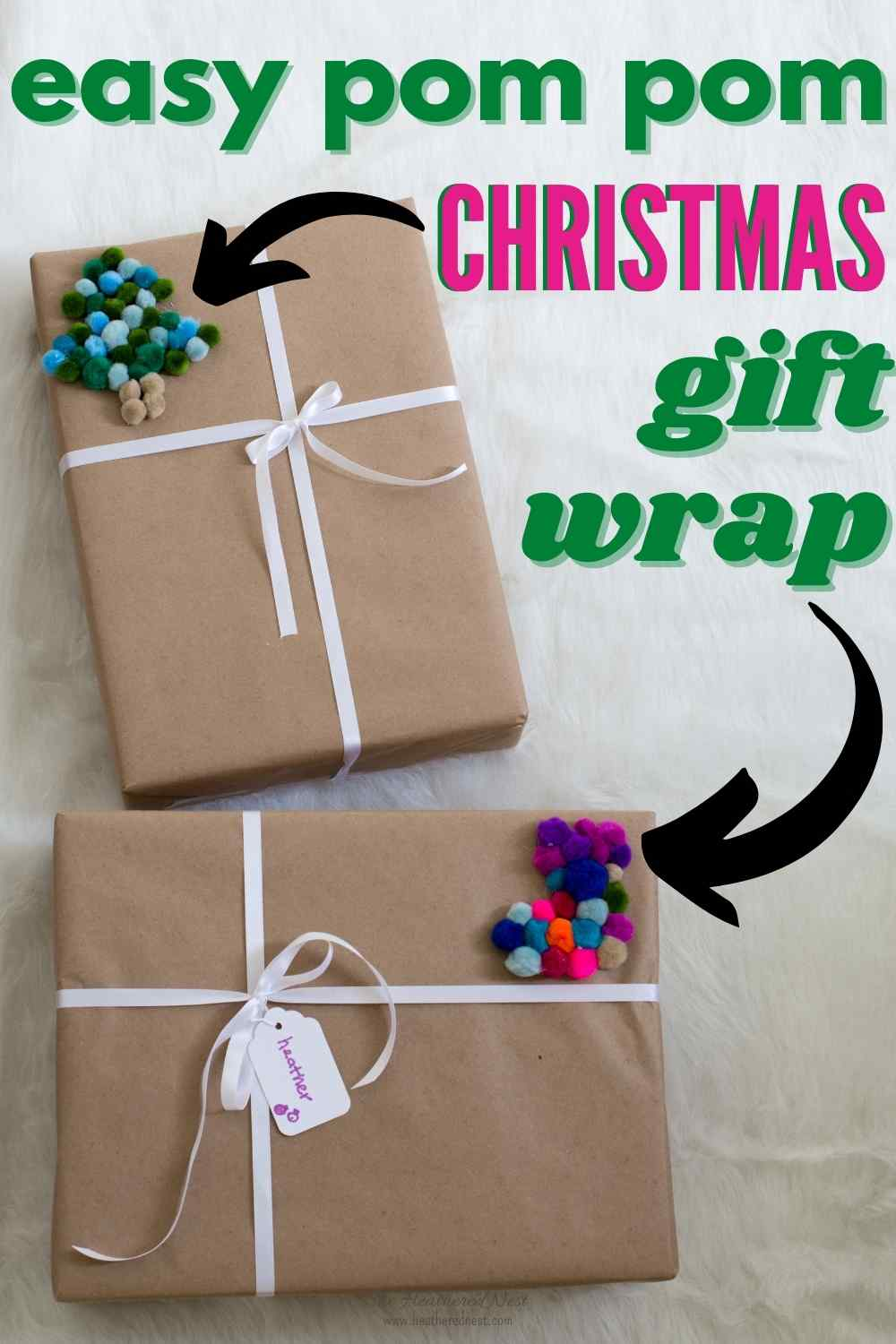Easy Christmas Gift Wrap with pom poms!