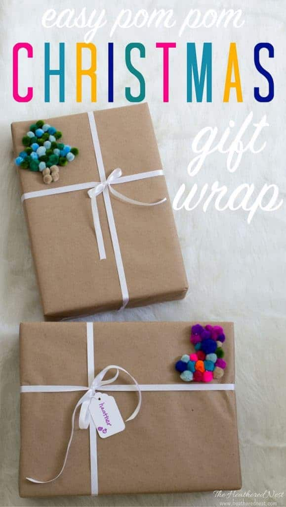 You won't believe the trick to making this Christmas gift wrap with pom poms so super duper easy!! What an easy and creative Christmas gift wrapping idea! These are so so precious! #christmasgiftwrappingideas #pompoms #easychristmasgiftwrappingideas #creativegiftwrappingideas
