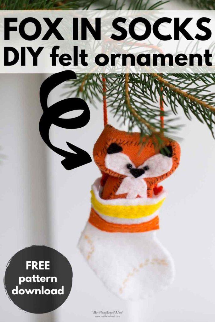fox in socks DIY felt ornament craft